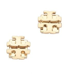 Authentic Tory Burch SmallT Logo Studs in Gold